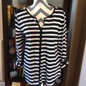 Anne Klein Medium Striped Top Black & White